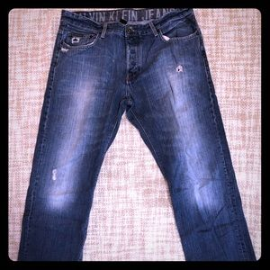 Men's Distressed Calvin Klein Jeans